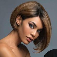 Kvinnor Bob Style Straight Pixie Hair _ Kort Guldbrun Peruk _