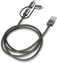 GP 3-in-1 USB-kabel, USB-C + Micro-USB + Lightning, 1m grå