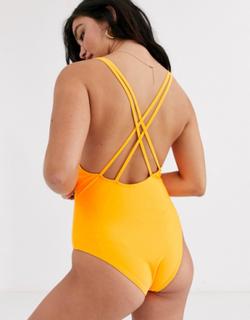 Brave Soul neon scoop swimsuit-Orange
