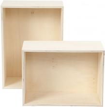 Förvaringslådor, H: 27+31 cm, B: 19,5+22,5 cm, 2 st., plywood