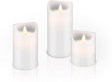 Set of 3 LED real wax candles white