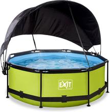 Pool ø244x76cm med solsegel och filterpump - Grön