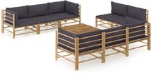vidaXL loungesæt til haven 9 dele med mørkegrå hynder bambus