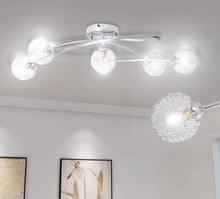 Taklampe/lysekrone med skjerm av glass og metallnetting 5 x G9-p