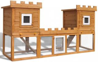 Stort kaninbur med dobbelt hus