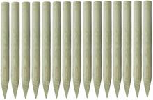 Spisse gjerdestolper 15stk impregnert furu - 4x100cm