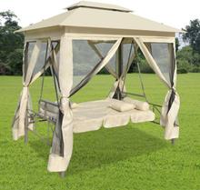 vidaXL pavillon med gyngestol cremehvid