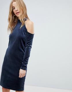 Pieces Cold Shoulder Glitter Velvet Mini Dress-Navy