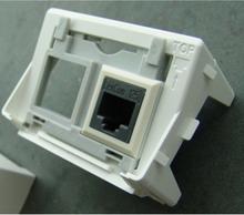 2x rj45 data keystone socket grey frame 3m white
