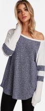Blaue Strick-Design-Streifen-Rundhals-Langarm-T-Shirts