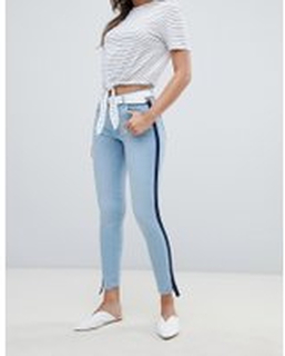 95021042bb52 Mango - Jeans med sportig rand - Jeansblå
