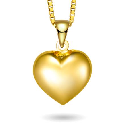 Halskjede i gull - Hjerte
