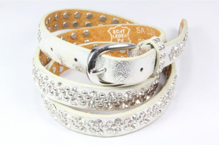 QNUZ Bälte /skärp, silver med nitar och strass, 90 cm