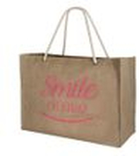 Lolilota Unisex Jute XL Shopper Strandtasche - Smile Print (beige pink)