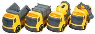 Legetøjs selvkørende Lastbiler - 10 cm i længden - 4 forskellige lastbiler