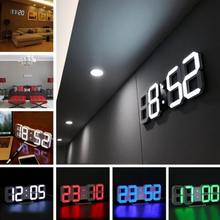 3D LED Wall Clock Modern Digital Wall Table Clock Watch Desktop Alarm Clock Nightlight Wall Clock For Home Living Room