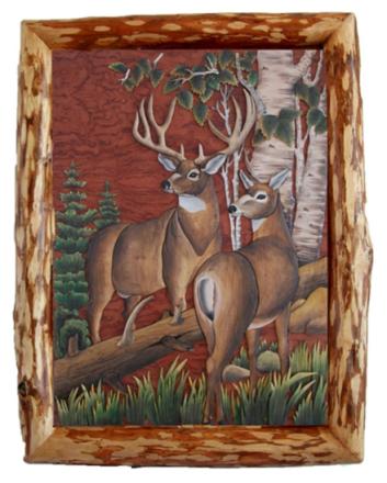 Hjort i skogen hånd laget Intarsia tre kunst veggen henger 28 X 30 ...