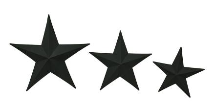 Sable stjerner 3 delers matt svart metall Barnstar veggen henger sett