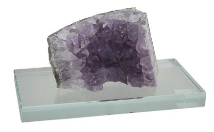 Naturlig Amethyst krystall på klart Glass montere 8 tommers