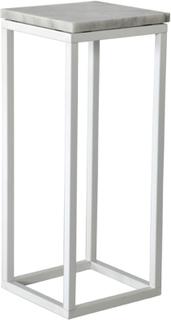 Accent sängbord/piedestal 65 - Vit marmor / vit underrede