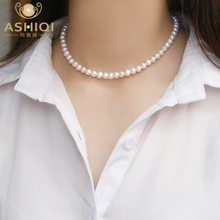 ASHIQI Natural freshwater pearl Chokers necklace 925 sterling silver jewelry for women gift new fashion