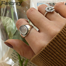 Foxanry 925 Sterling Silver Couples Rings for Women Trendy Vintage Handmade White Agate Elegant Wedding Party Jewelry Gifts