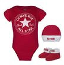 Converse Baby 3-er Geschenk-Set Body Strampler Mütze Söckchen rot weiß