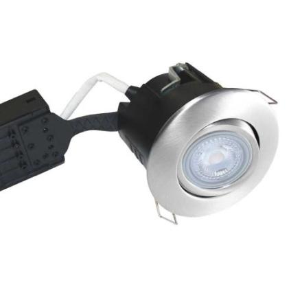 Nordtronic Uni Install 63 Rund Innbygningsspot utendørs 5W/827 LED GU10, Børstet stål
