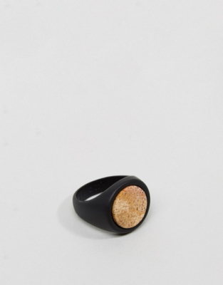 Icon Brand Premium Atlas Ring In Black & Gold - Bl