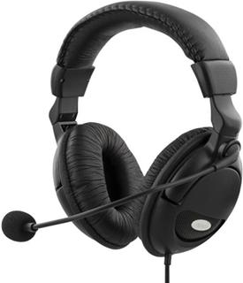 DELTACO headset med mikrofon och volymkontroll 2m kabel, svart