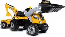 Smoby Traktor och släpvagn Builder Max gul och svart