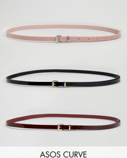 ASOS CURVE 3 Pack Patent Skinny Waist And Hip Belts - Multi