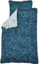 Done By Deer, Bäddset Spjälsäng - Sleepy 100 x130 cm blå