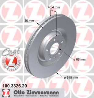 Bremseskive ZIMMERMANN 100.3326.20