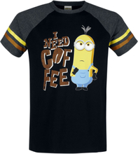 Minions - I Need Coffee! -T-skjorte - svart, grå