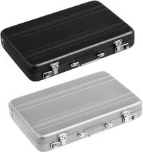 2Pcs Aluminum Password Box Card Case Mini Suitcase Password Briefcase - Silver & Black