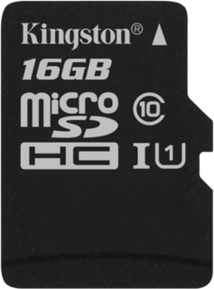 Kingston 16GB microSDHC Canvas Select 80R CL10 UHS-I Single Pk w/o Ada