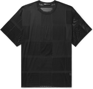 Oversized Patchwork Mesh-jacquard T-shirt - Black