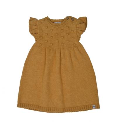 Papfar strikket ullkjole til baby, sennepsgul