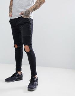 Brave Soul Black Blown Out Zipped Skinny Biker Jeans - Black