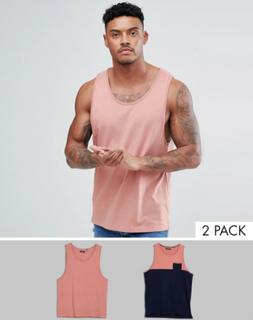 Brave Soul 2 Pack Plain And Block Contrast Pocket Vest - Navy