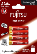 Fujitsu High Power AAA Alkaline Batterier - 4 stk.