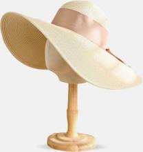 Frauen Stroh gewebt einfarbig Bowknot Dekoration Big Brim atmungsaktive Stroh Hut