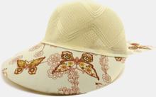 Frauen Baumwolle Leinen Schmetterling Blumenmuster Druck Big Brim Atmungsaktive Strohhüte