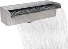 vidaXL Rektangulärt vattenfall poolfontän i rostfritt stål 30 cm