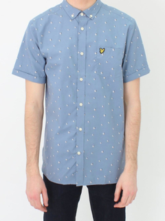 Lyle & Scott Lyle och Scott Beach Ball Print Shirt - Mist Blue XL