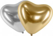 Ballonger Latex Hjärta Mix Guld - Silver | Chrome Effekt