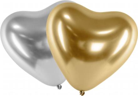 Ballonger Latex Hjärta Mix Guld - Silver   Chrome Effekt