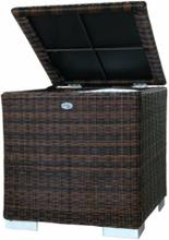 Kissenbox I 60 x 60 x 60cm - Braun - Rundes Polyrattan