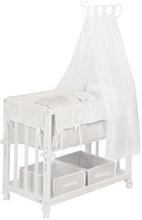 Roba-Kids - White co-sleeping cot with mattress and clothes.